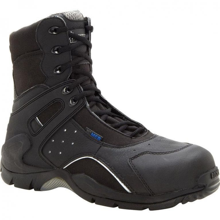 Rocky 1st Med Carbon Fiber Toe Puncture Resistant Side Zip Waterproof Duty Boot